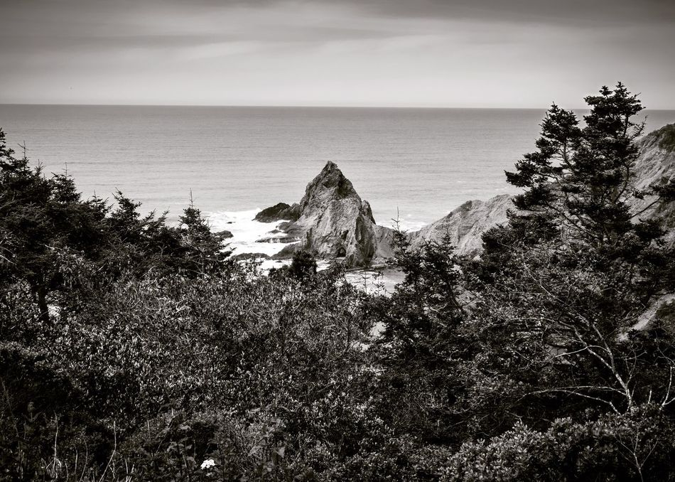 Horizons: Monolith. Nature Sea Scenics Tranquil Scene Beauty In Nature Horizon Over Water No People Outdoors Landscape Black And White Collection  Bnw_collection Bnw_planet Photooftheday Monochrome Blackandwhite Picoftheday Beauty America California Mendocino Coast