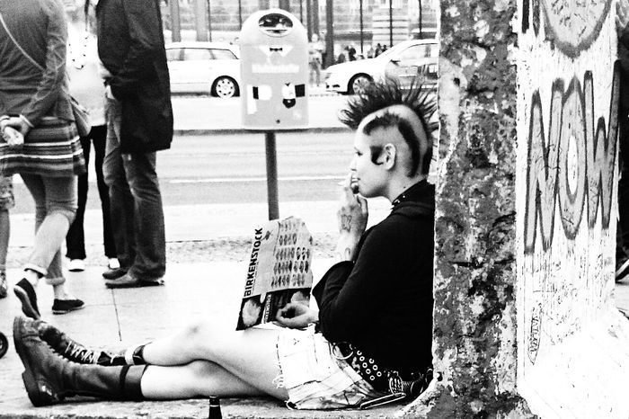 Punks for Birkenstock? Impossible Moments Bnw_friday_eyeemchallenge Streetphoto_bw People Photography This is the far side of the sign asking for support with cigarrets or weed or money...(Birkenstock sandals have been quite an opposit movement in the 90's here in Germany)
