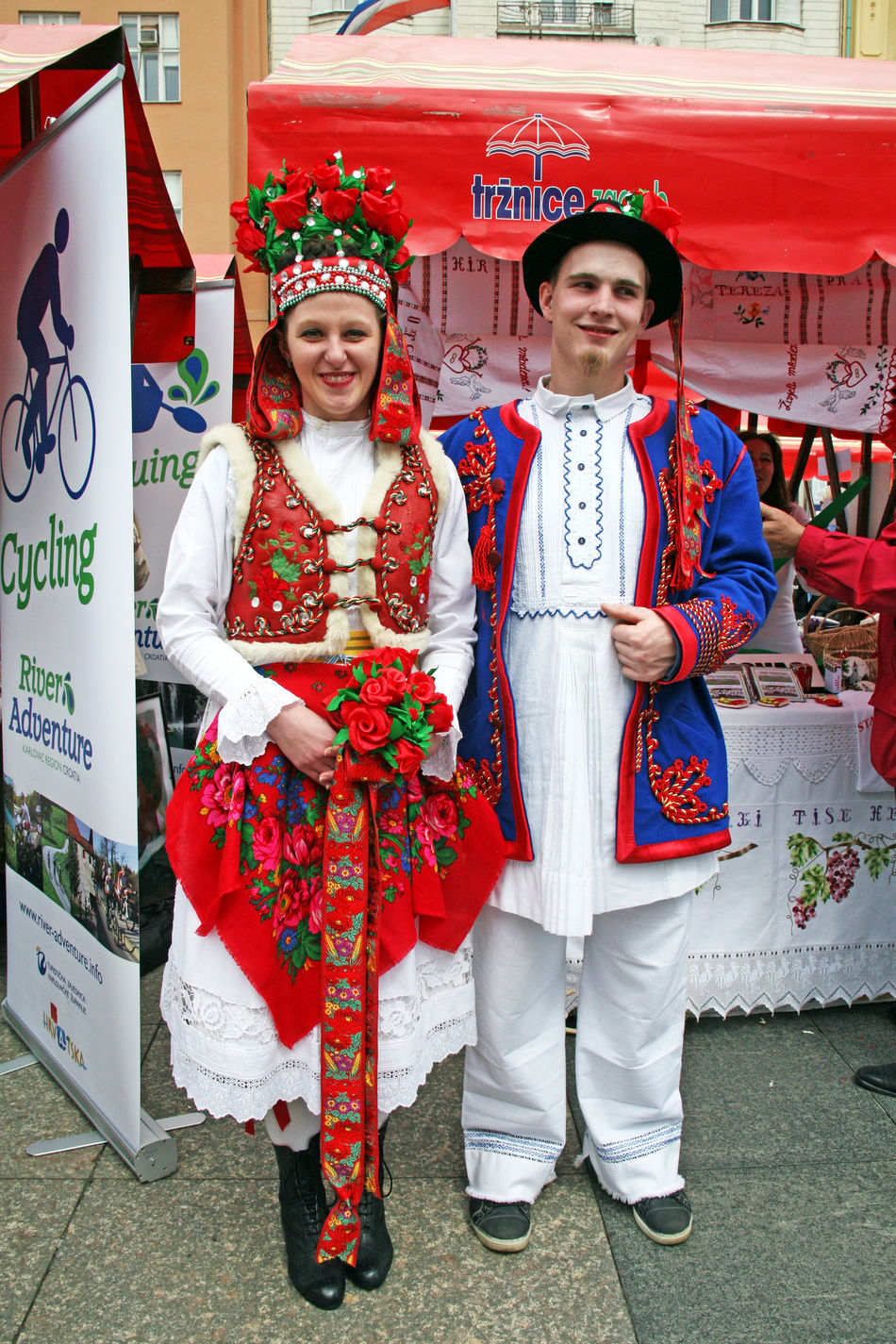 Pair in national costumes,Karlovac's county fair, Zagreb,Croatia,EU,2016. Colourful Croatia Cultures Eu Fair Happiness Karlovac's County Fair Outdoors Pair Picturesque Portrait Smiling Toothy Smile Traditional Clothing Young Pair Zagreb