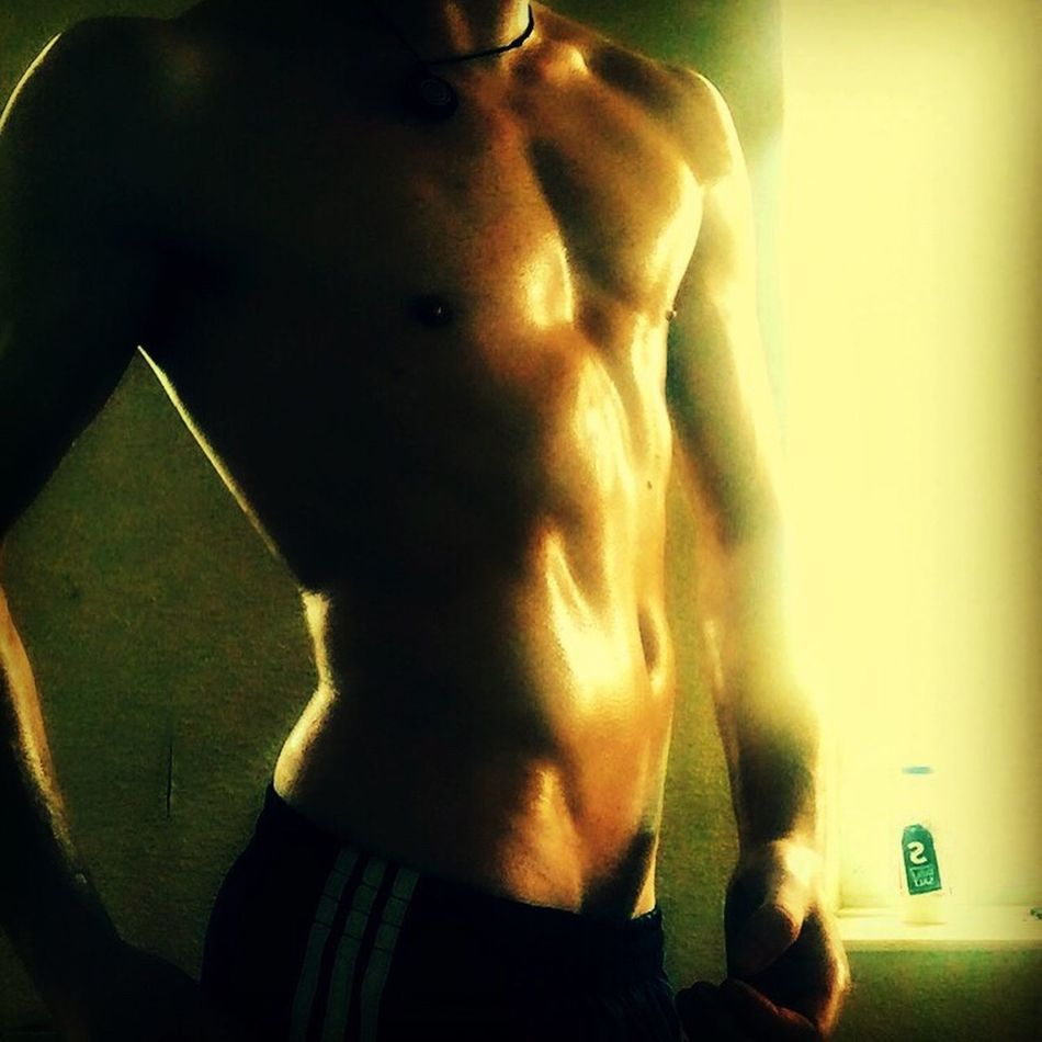 Nipplesout Pecks Manv Belly Button Healthy Lifestyle Exercising Sweat Muscular Build Sport Shirtless Men Close-up Adults Only Human Abdomen Indoors  One Man Only Lube Oiled Up Thickthighs Bubblebutt Tight Semi Erection_ Hornygay