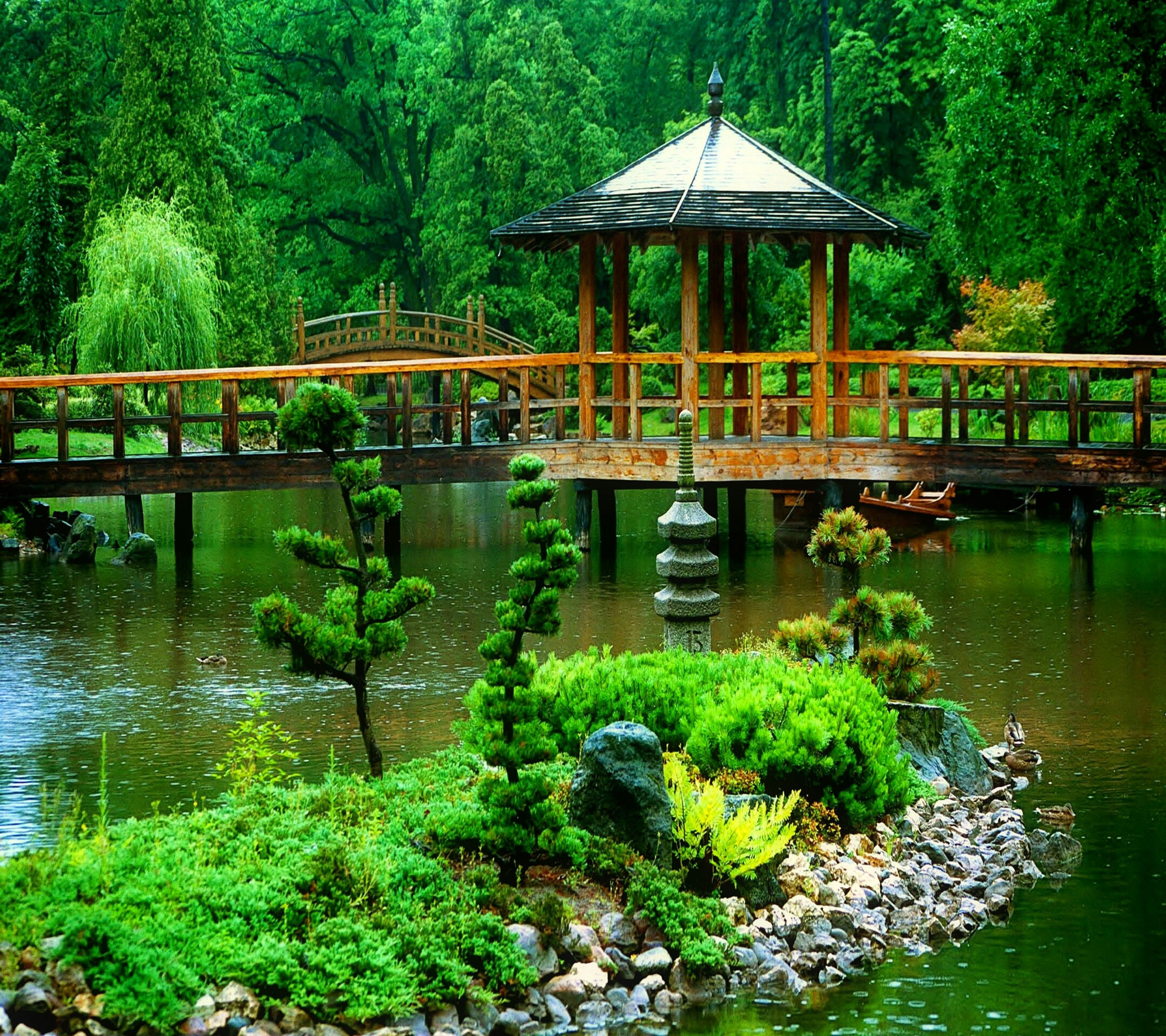 water, bridge - man made structure, connection, tree, river, built structure, architecture, footbridge, bridge, reflection, green color, plant, arch bridge, tranquility, growth, nature, waterfront, railing, beauty in nature, forest
