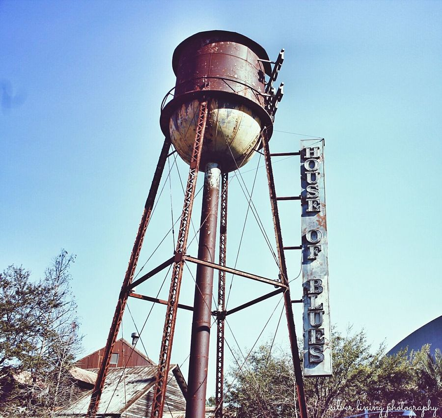 Low Angle View Blue Sky Clear Sky No People Old-fashioned Outdoors My Unique Style Silver Lining Photography Architecture Disneyland Nostalgic  Canon Rebel T3i Eyem Creative Inspiration The Week On Eyem Eyem Market House Of Blues Watertower