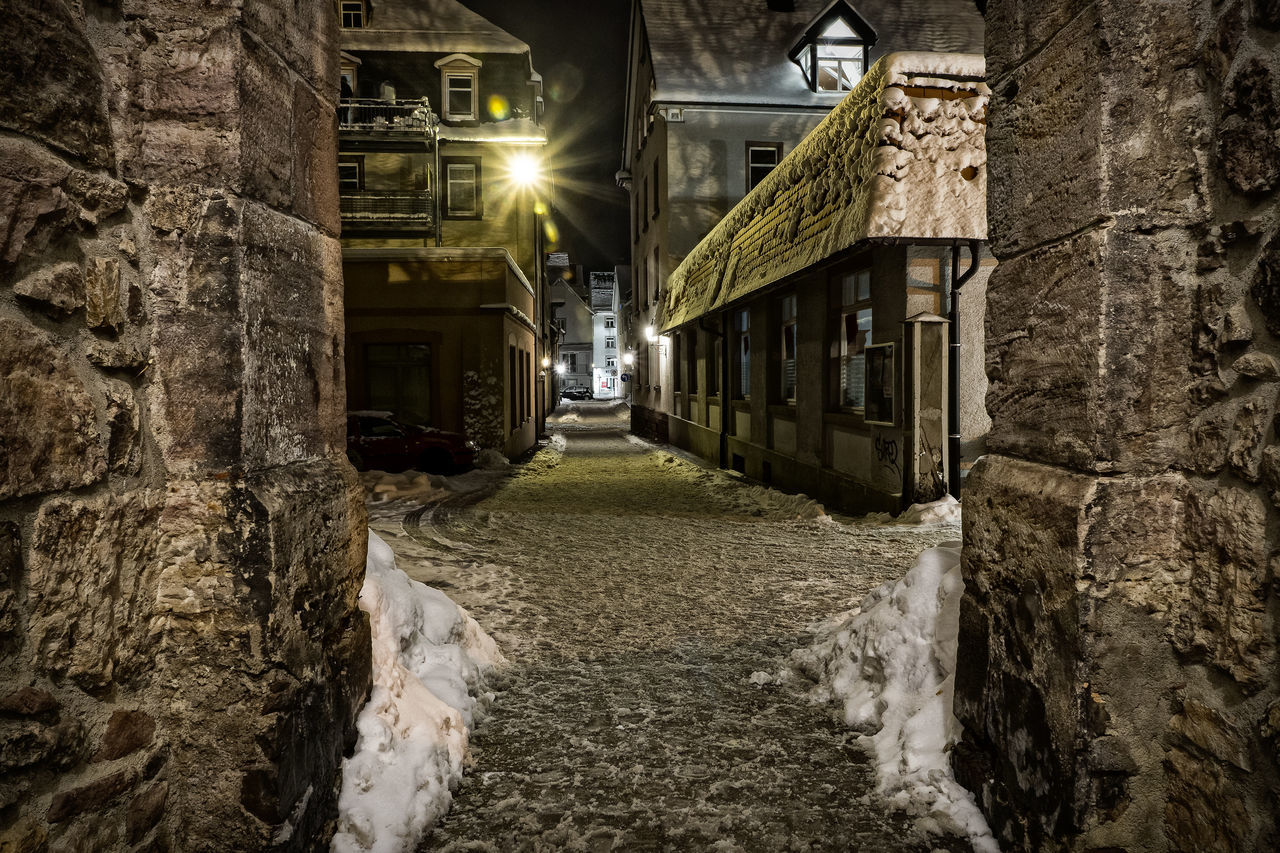 Architecture Built Structure Historic City Illuminated Night Villingen Wall Winter