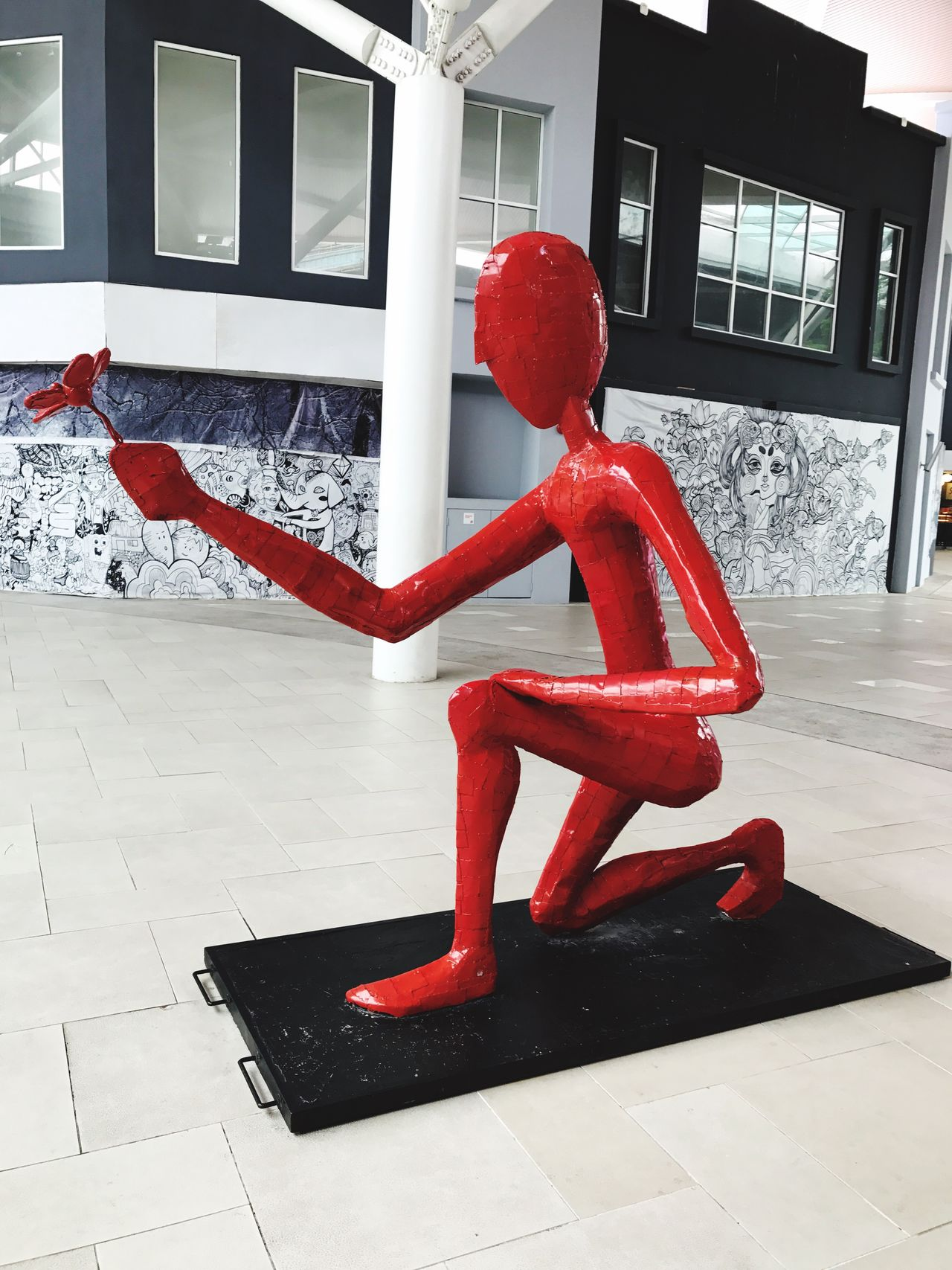 Red Day No People Architecture Outdoors Art And Craft Artistic Art, Drawing, Creativity ArtWork Statue