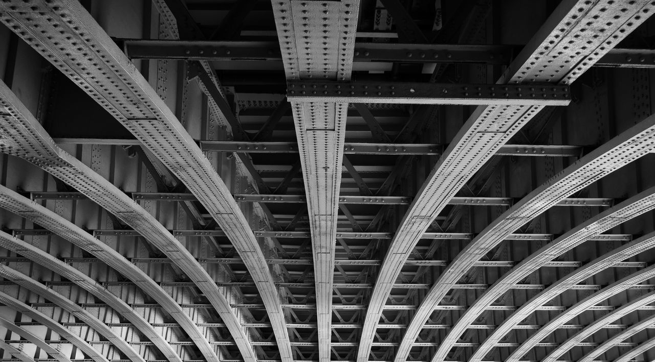 Rivets Architecture Black And White Blackfriars Blackfriars Bridge Bridge Converging Lines Girder London Low Angle View Metal Rivets Underneath