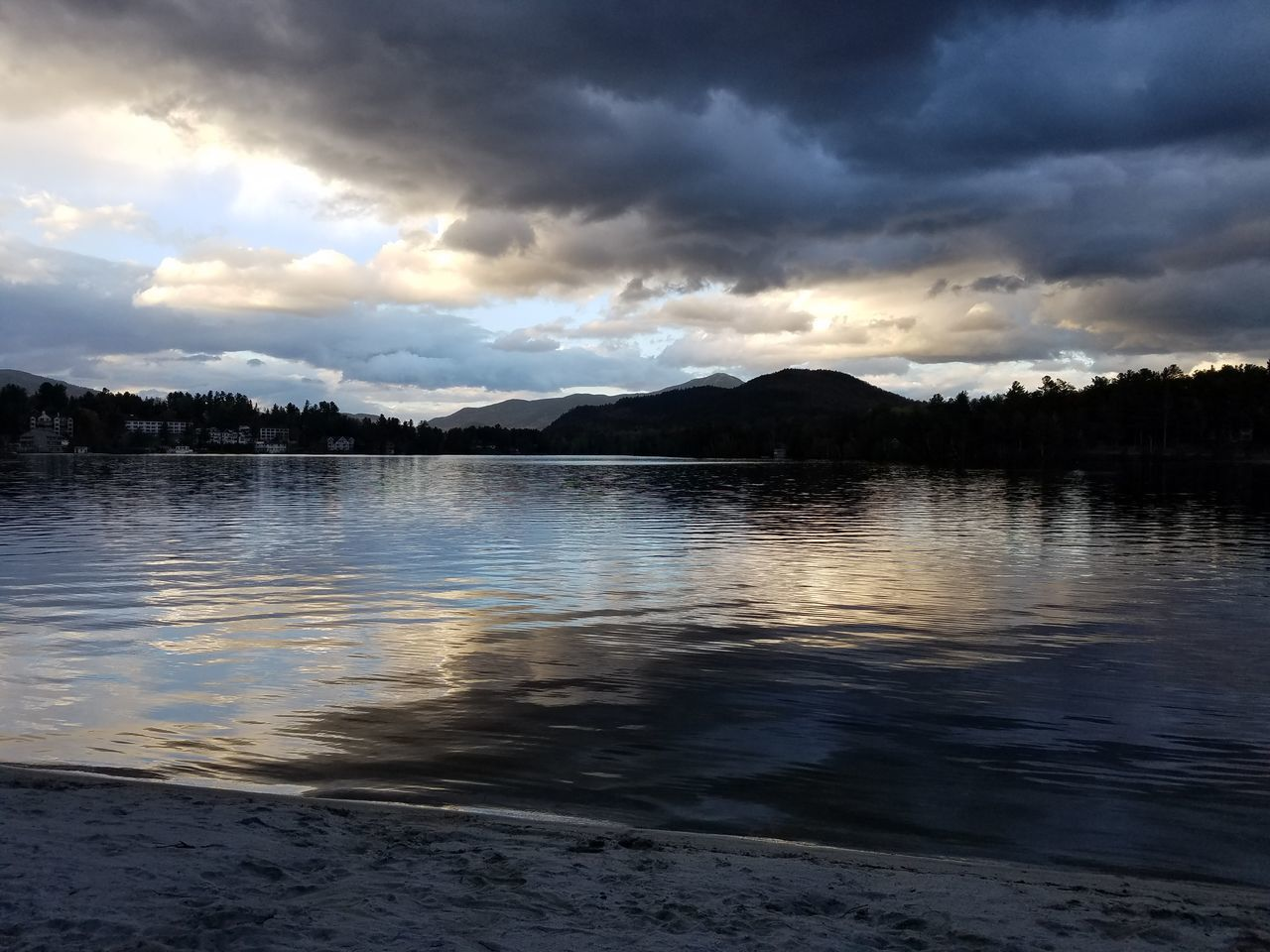 Lake Cloud - Sky Water Mountain Nature Beauty In Nature Outdoors Landscape No People Scenics Tranquility Sky Sunset Tree Day Lake Placid, NY Mirror Lake Lake View Trees Cloudy Skies Peace And Quiet Tranquil Scene Tranquility Nature Remote