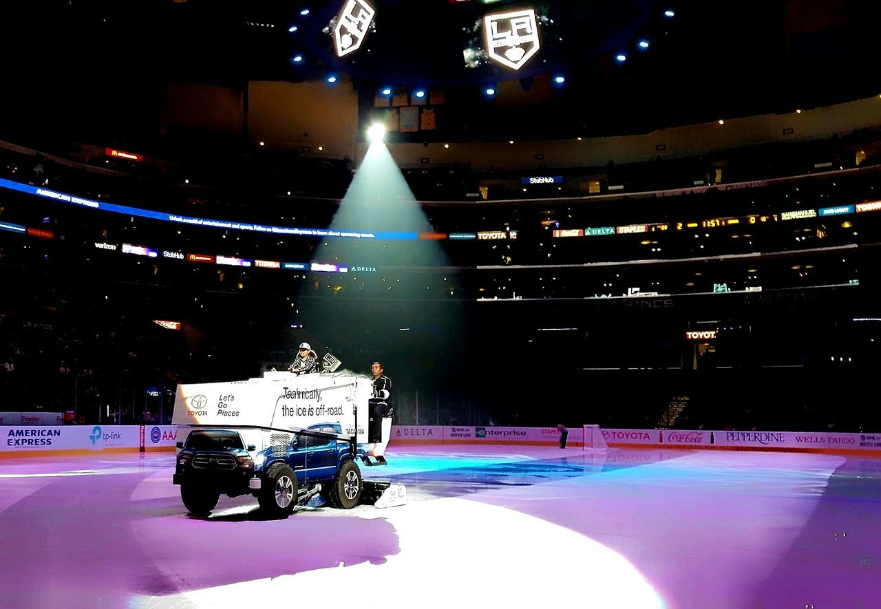 Love her life Kings Game Los Angeles Kings Her First Game On The Ice Zamboni Zam Man Hockey Hockey Game Lucky Special Event Enjoyment Transportation Mode Of Transport Ice Clearing The Ice People All Around  LA KINGS GKG GKG Spotlight