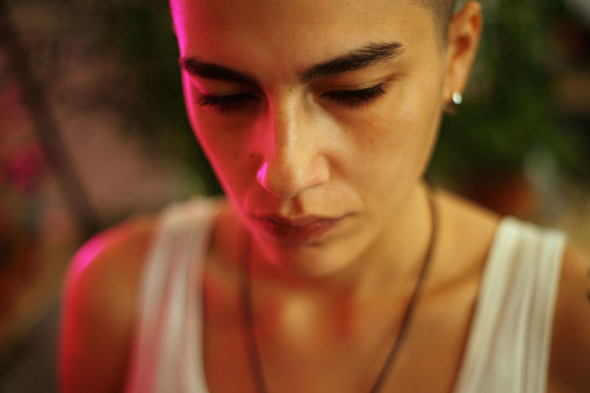 Artificial Light EyeEm Feature Light Natural Light Close-up Day Focus On Foreground Front View Headshot Lashafox Magenta Mood Neon One Person Outdoors People Portrait Portraitist Stertsvadze Young Adult
