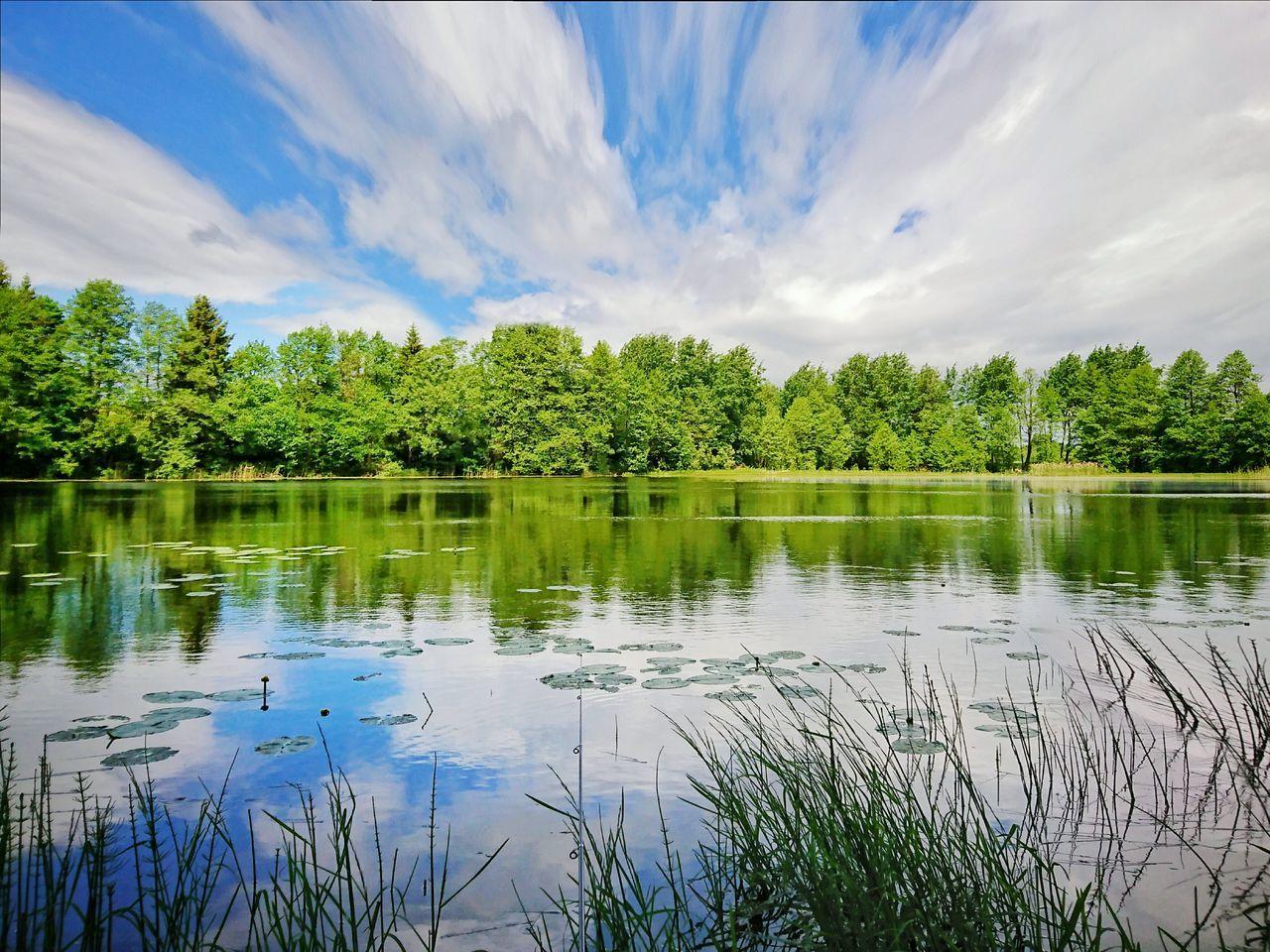 Reflection Lake Water Cloud - Sky Sky Nature Scenics Outdoors Tree Day No People Beauty In Nature Plant Polska Poland Xperiaxz Warmia