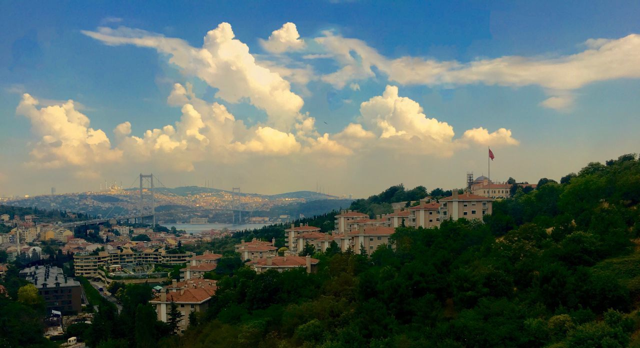 Bridge Hill Trees Cityscape Skyline Bosphorus Bridge Bosphorus, Istanbul Architecture Building Exterior Sky Built Structure Cloud - Sky Crowded Cityscape Town City Tree Residential Building House Outdoors Day Nature Dramatic Sky Turkish Flag
