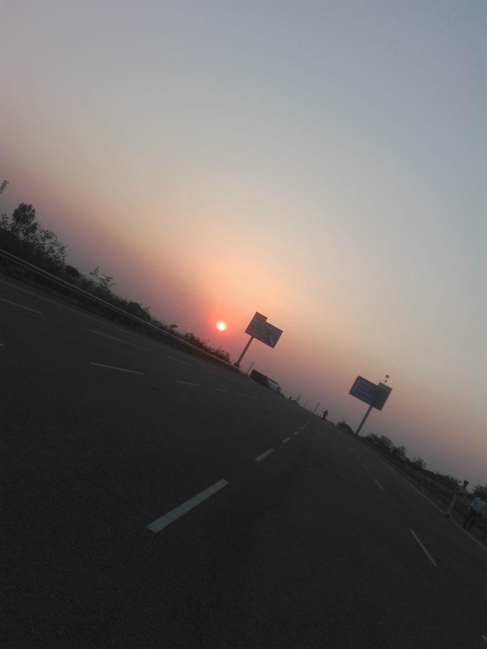 transportation, sunset, road, no people, sun, outdoors, sky, road sign, nature, day