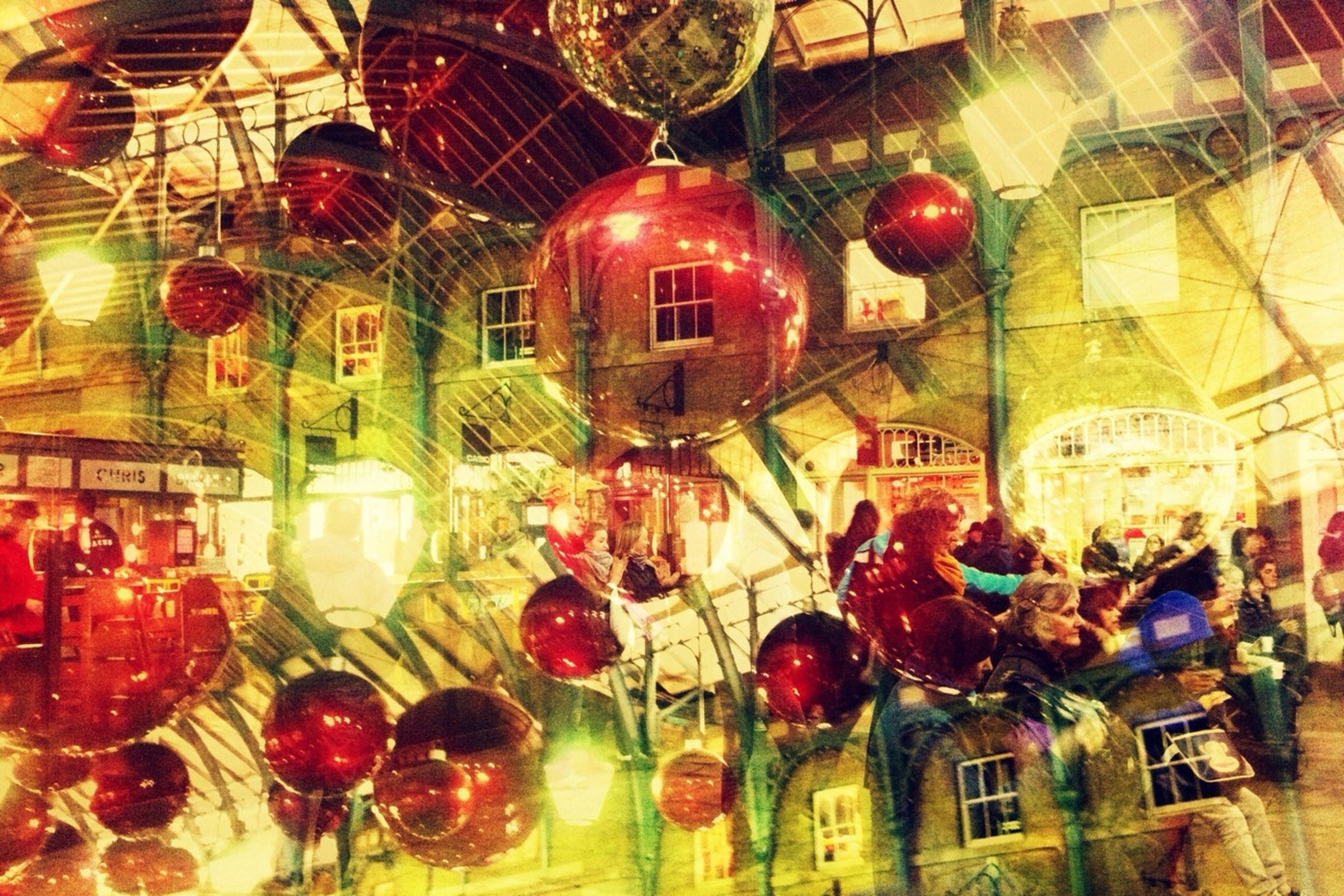 hanging, decoration, indoors, lantern, low angle view, lighting equipment, illuminated, celebration, christmas, chinese lantern, christmas decoration, ceiling, architecture, tradition, built structure, red, traditional festival, christmas tree, christmas ornament, cultures