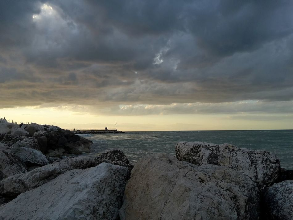 Clouds on the sea | Beach Sea Horizon Over Water Dramatic Sky Sunset Tranquility Outdoors Landscape Beauty In Nature Travel Destinations Full Frame Art Is Everywhere Personal Perspective Pesaro EyeEm Italy|