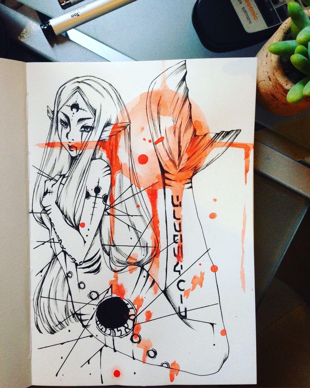 You can support me on patreon now! www.patreon.com/pummelkuh Art MyArt My Art Manga Mermaid Moon Watercolor Beautiful Death Fantasy
