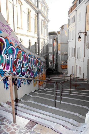 Art De La Rue Graph Stairs Escalier Multi Colored Architecture Travel Destinations No People Outdoors Day City