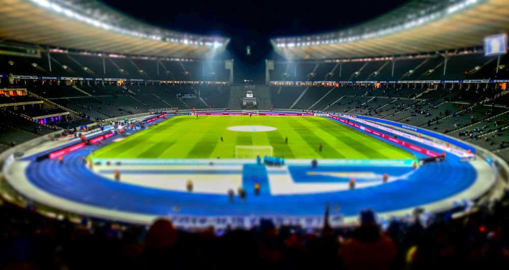 Berlin Photography Berliner Ansichten City Life Floodlit Grass Green Color Match - Sport Miniature Night Night Photography Nightphotography No People Olympiastadion Olympiastadion Berlin Olympic Stadium Outdoors Sport Sport Event Sports Venue Stadium Tilt-shift Urban Exploration
