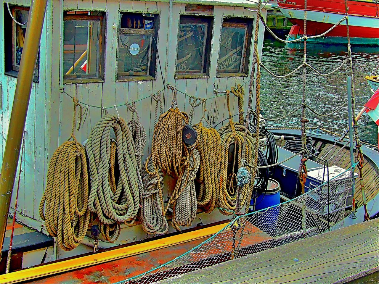 Anchorage Architectural Feature Architecture Art And Craft Berth Built Structure Cord Cords Day Famous Place Fishboat Fishing Boat Fishing Boats Harbor History Rope Ropes Ropes Boats Sea Seamanship Shiny Ship Tourism Travel Travel Destinations