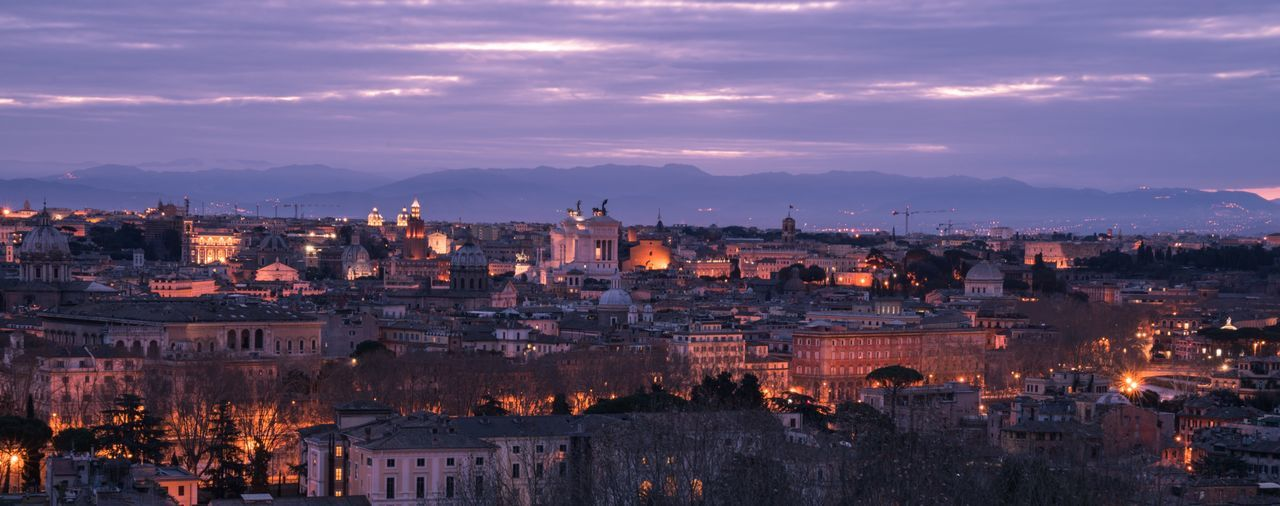 At dusk. Building Exterior Architecture Sky Cityscape City Built Structure Travel Destinations Illuminated Cloud - Sky Outdoors Night Dusk Dusk In The City Europe Rome Italy Roma Rome Italy Bella Italia Italia Italy❤️ Architecture Night Lights Night Photography Panorama