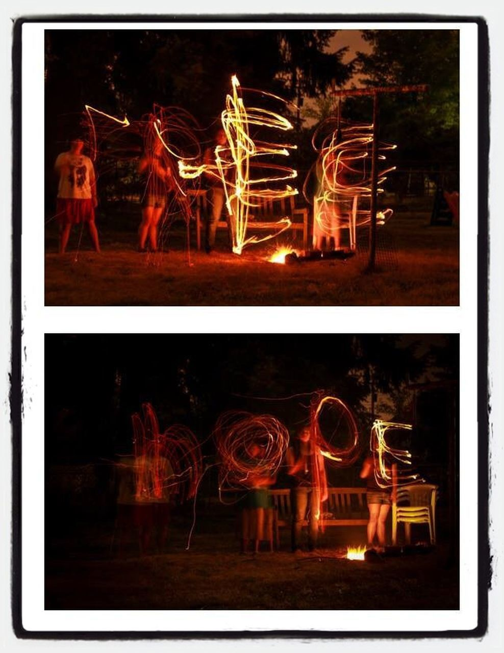 illuminated, night, burning, multiple image, long exposure, abstract, flame, motion, no people, collage, indoors, close-up