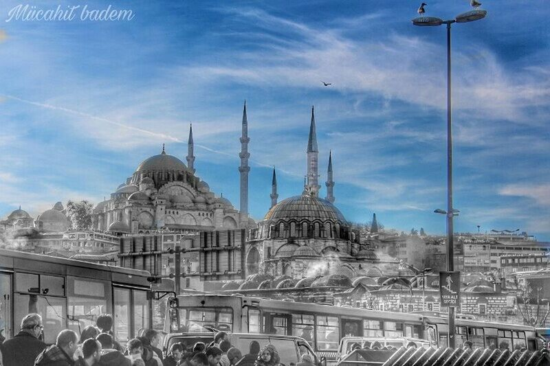 Architecture Religion Sky Built Structure Travel Destinations Dome Building Exterior Mosque City Place Of Worship Spirituality No People Outdoors Cloud - Sky Cityscape Day Graphic Wallpaper Photography ArtWork Turkey Muslim Tarihimekan
