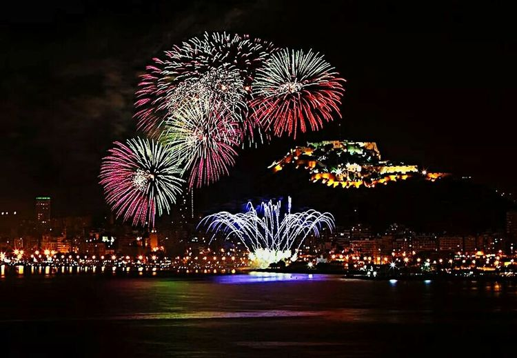 hogueras 2016 Night Firework Display Sea Illuminated Water Multi Colored Celebration Bridge - Man Made Structure Exploding Harbor Cityscape Sky Midnight Ferris Wheel Firework - Man Made Object No People Outdoors Architecture