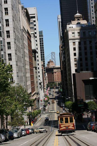 Tram San Francisco Streets Of San Francisco Bay Bridge San Francisco Bay Bridge View