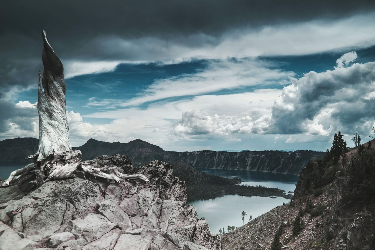Tranquil Scene Scenics Tranquility Sky Water Non-urban Scene Beauty In Nature Cloud - Sky Nature Mountain Travel Destinations Majestic Geology Cloud Tourism Physical Geography Outdoors Day No People Crater Lake National Park Landscape Blue Lake Tranquil Scene Scenics First Eyeem Photo