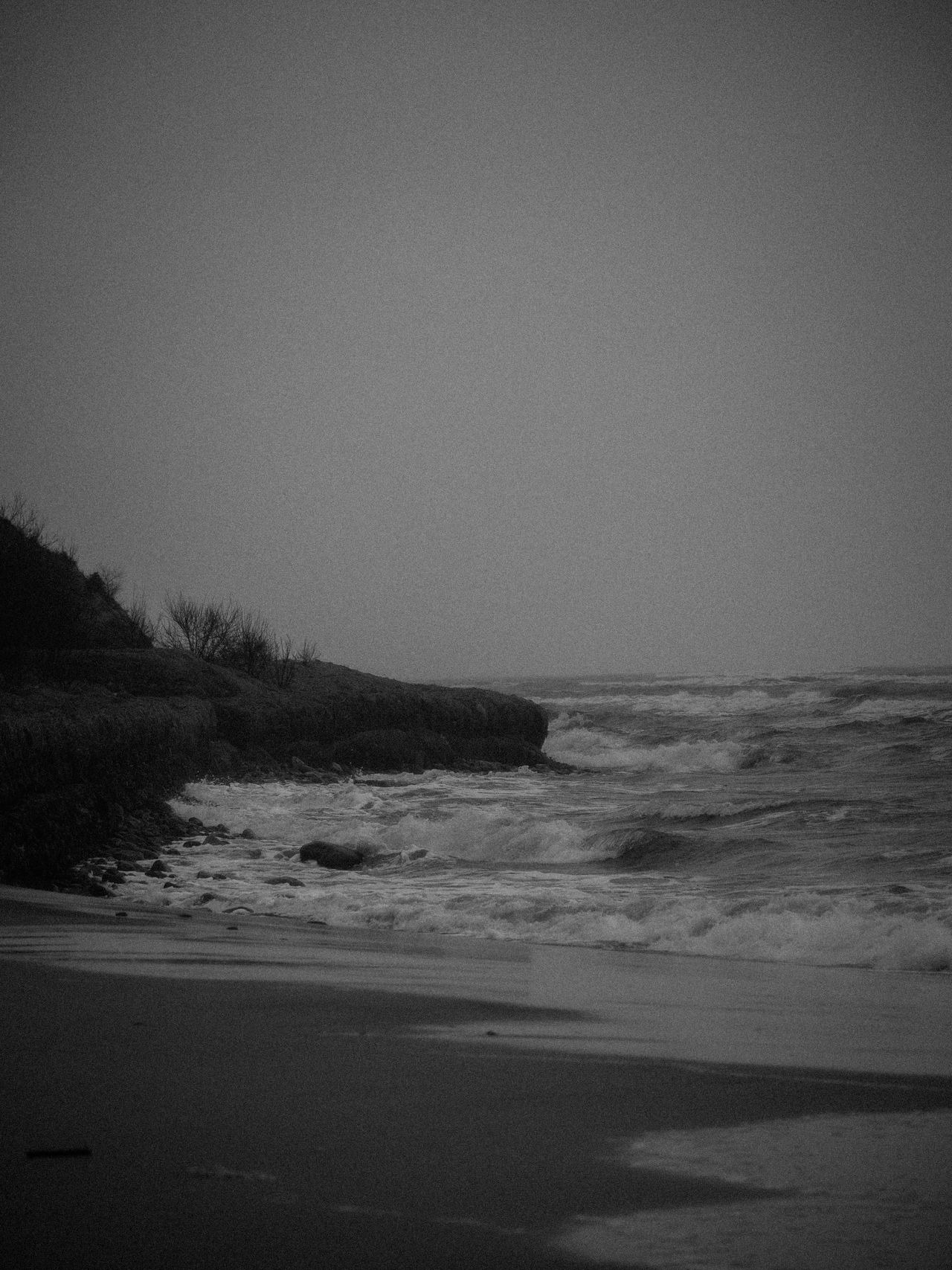 Beach Beauty In Nature Black And White Day Landscape Nature No People Outdoors Scenics Sea Sky Tranquil Scene Tranquility Water Wave