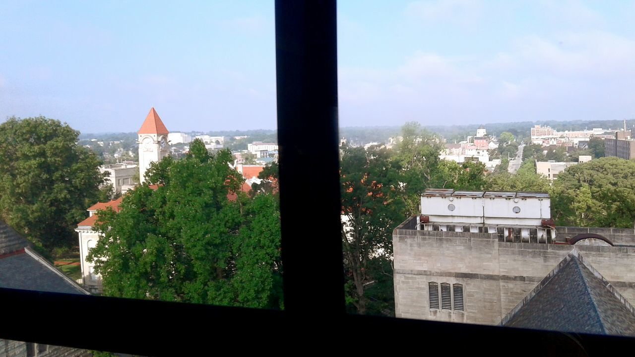 Cityscape Window Sill City Rooftop View  Bloomington, Indiana Indiana Iu Town Sky Roof Window View Above The Trees Topfloorview Bloomington In Hoosier Hoosiers Indiana University College Campus Rooftop Window City View  Cityscapes Clock Tower Capture The Moment Distant View