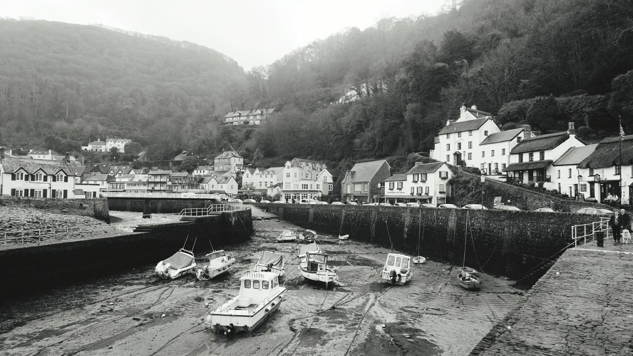 Boats At Harbor In Lynmouth
