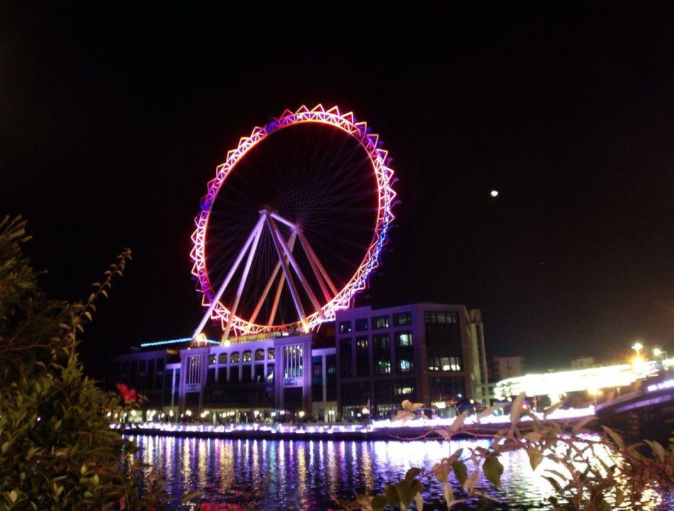 Zhongshan, China Ferris Wheel Moon Night Lights Nightphotography Riverside Qi River Water Reflections