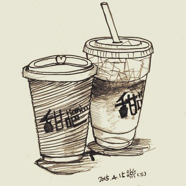 今天星期三,甜吧買一送一。乾杯🍻 Pencil Drawing Painting Coffee Tea Black And White Drinks Coffee Time Tianba 甜吧 西門町