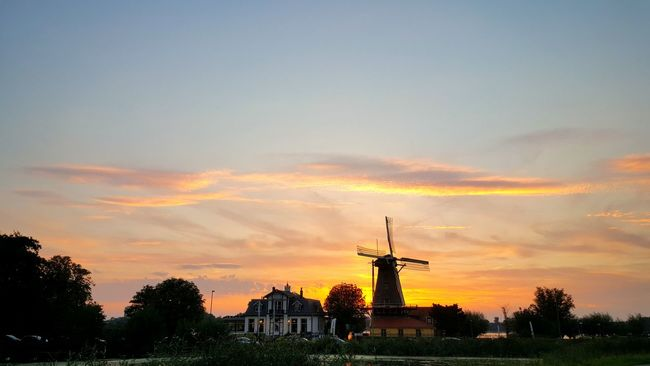 Sunset Tree Sky Orange Color Scenics Cloud Beauty In Nature Cloud - Sky Windmill Non-urban Scene Nature Tranquility Taking Pictures Cozy Sunbeam Outdoors Taking Photos Dutch Dutch Architecture Sunset_collection Sunset Silhouettes Sunlight Nature Nature_collection Nature Photography