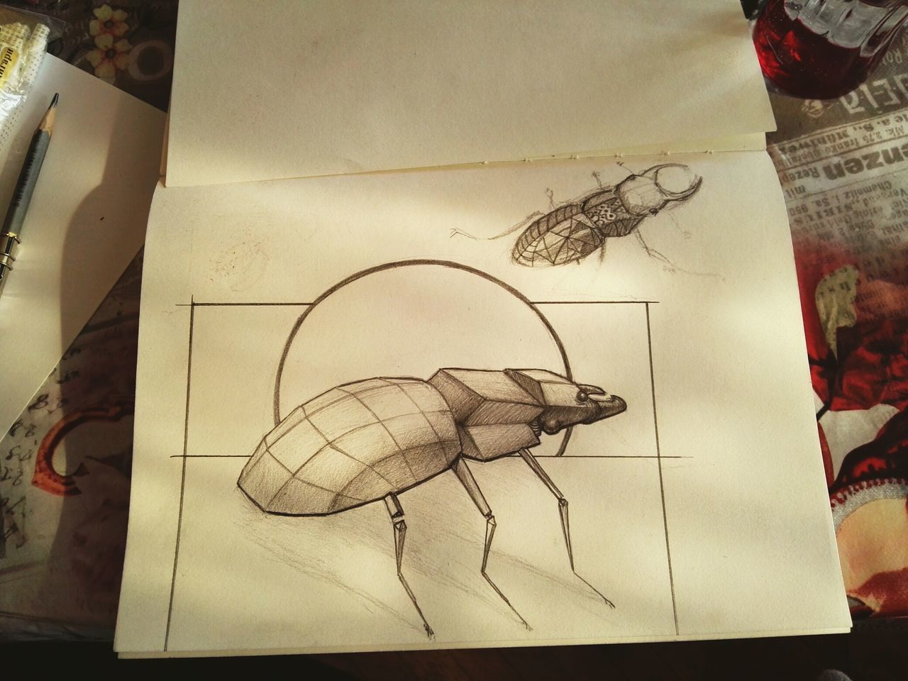 Paper No People Pencil Drawing Day Indoors  Sketch Artworks Handmade Bumblebee Horned Future Designattack Stylization Animal Study Wooden Texture Wood - Material Pencil Creativity