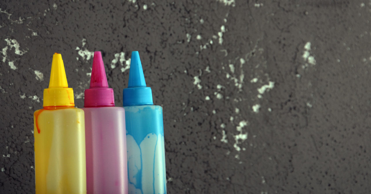 ink jet colors Blue Bottle Close-up Color Color Concept Colorfull Colors Day Ink Inkjet No People Paint Red Yellow
