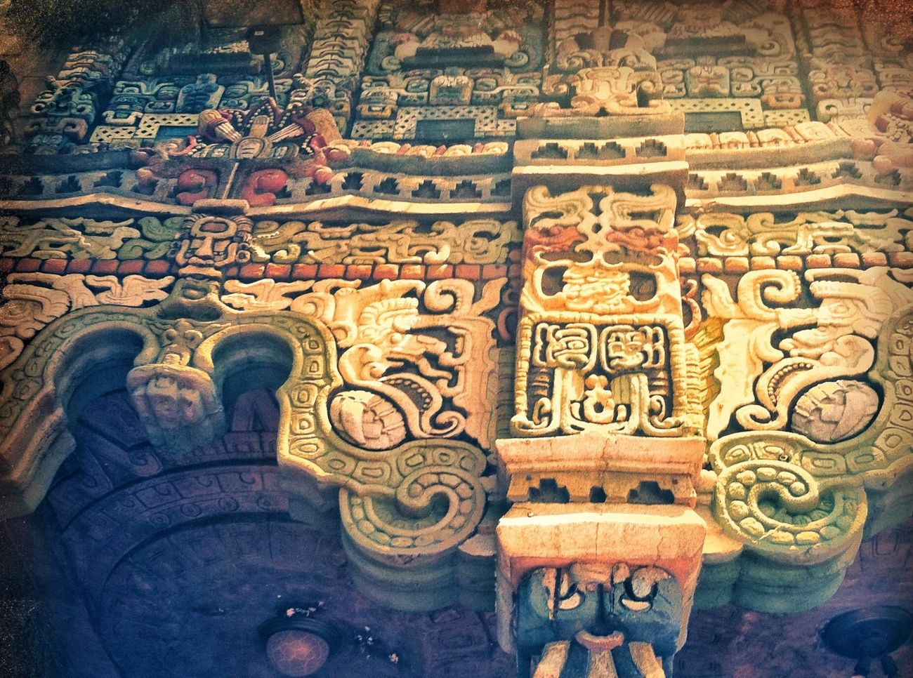 Theater Marquee Ornate Carving Mexican Mayan Southwest  Maya Mayan Ruins Mayanculture California