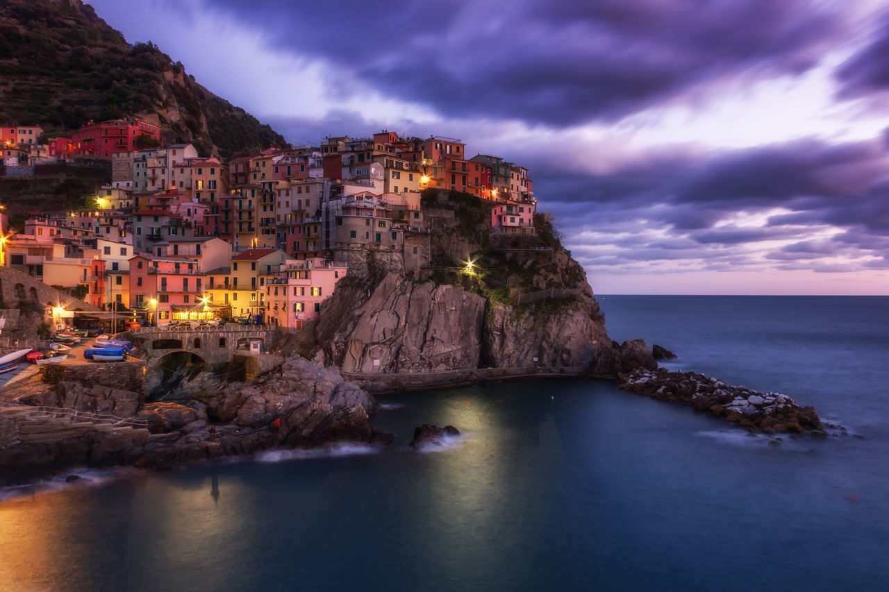 Architecture Blue Building Exterior Built Structure Cinque Terre Cinque Terre Liguria Cliff Cloud - Sky Cloudy Coastline Dusk Horizon Over Water House Liguria,Italy Manarola, Nature Ocean Residential Building Residential District Sea Shore Sky Town Water Waterfront First Eyeem Photo