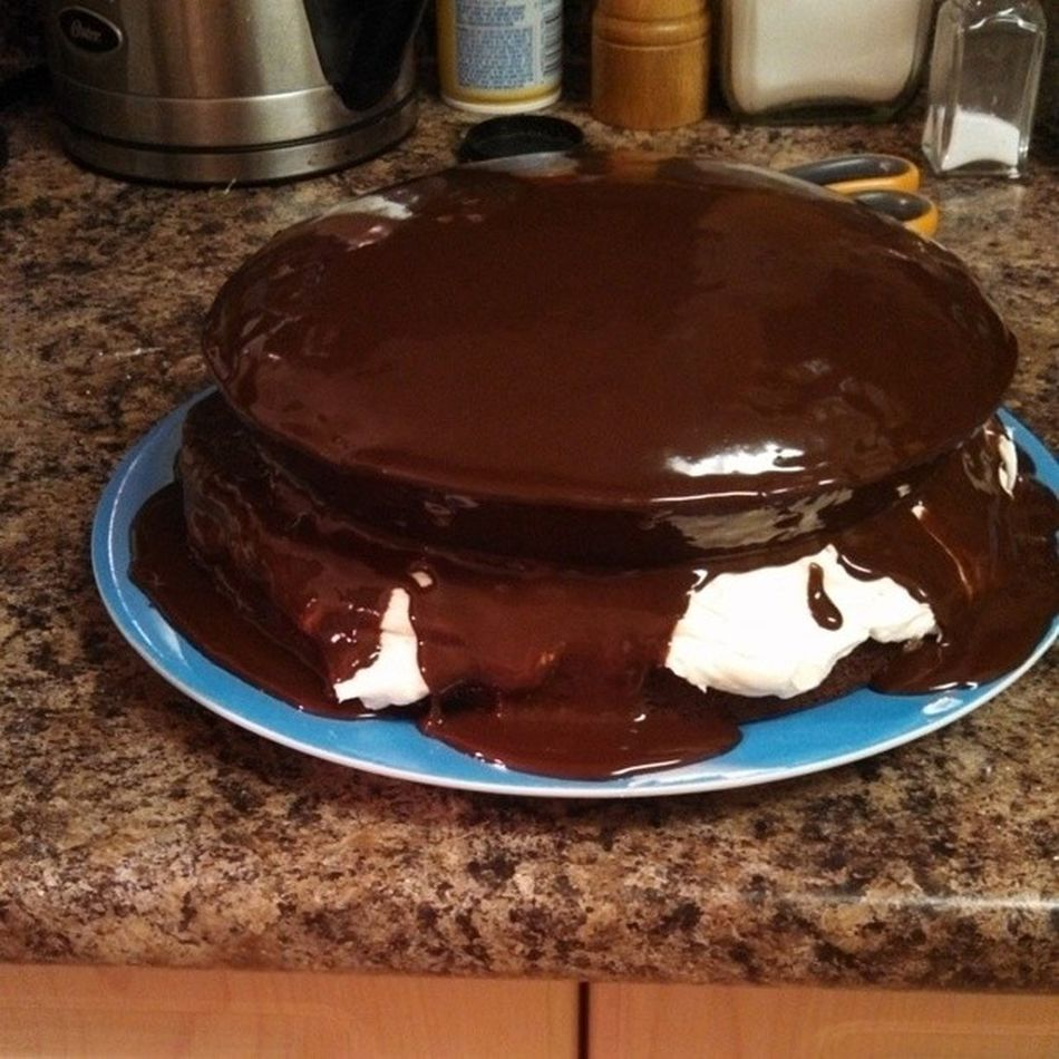 Homemade Whoopiepie Cake smothered in ganache! Happybirthdaybooski