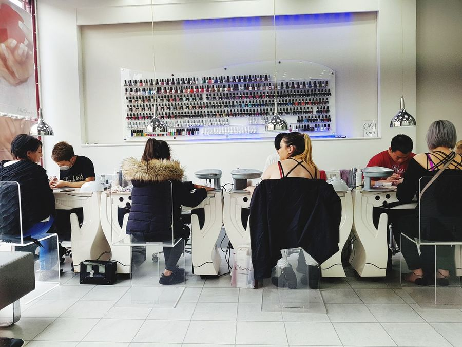 Indoors  People Large Group Of People Adult Adults Only Cyberspace Day Uv Nails Nails Gels Salon Nail Bar Young Adult Adults Only Teamwork Togetherness