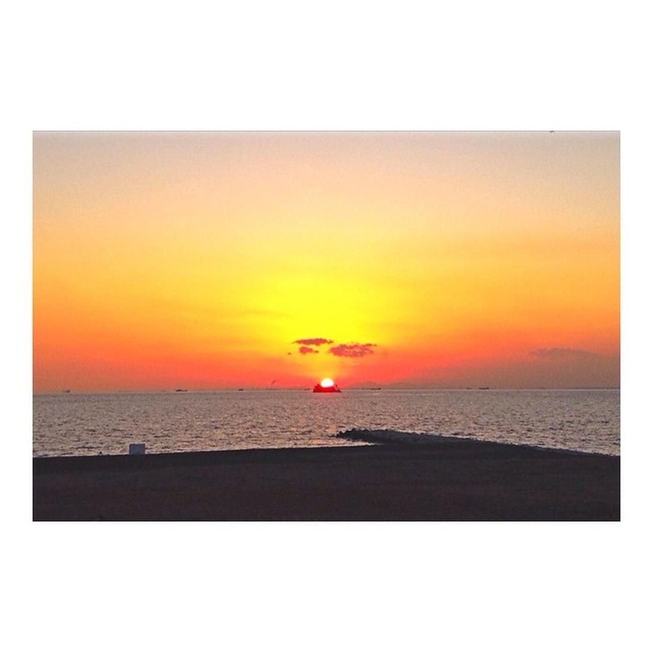 家から徒歩5分の所に海があるという幸せ 、噛み締めてます🌅 この真ん中にうつってる雲 がなんとなく世界地図っぽいかたちしてて感動🌍🌎🌏 Just standing alone and doing nothing. Sunset Ocean Beach Clouds Winter Nature Beautiful Stunning Orange Horizon Japan Chiba Makuhari 夕焼け 幕張の浜 ぼー
