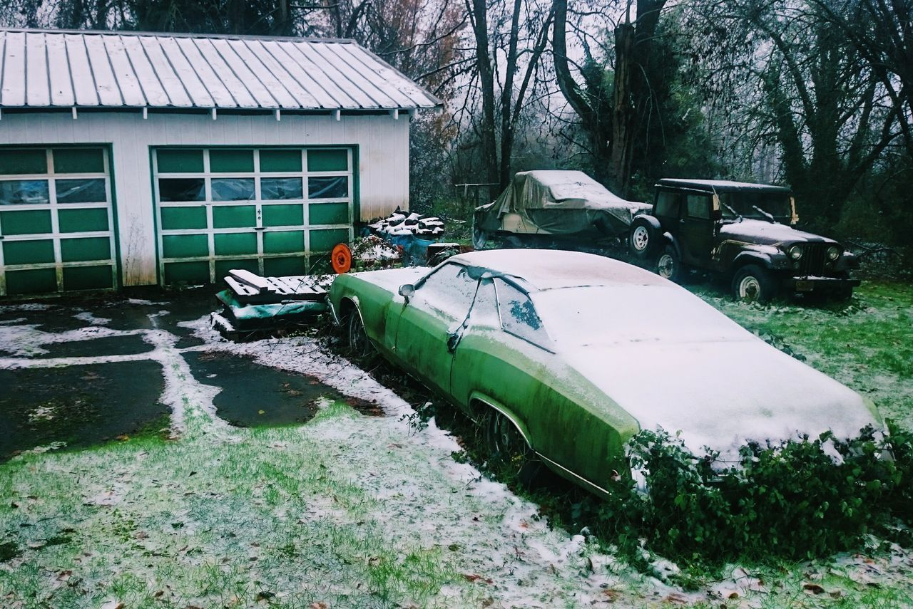 No People Wrinkles Of The City  Urban Landscape Portland Oregon Green Color Green Growth Nature Taking Over EyeEm_abandonment Abandoned Vintage Cars Snow North Portland Overgrown Pacific Northwest  Cascadia