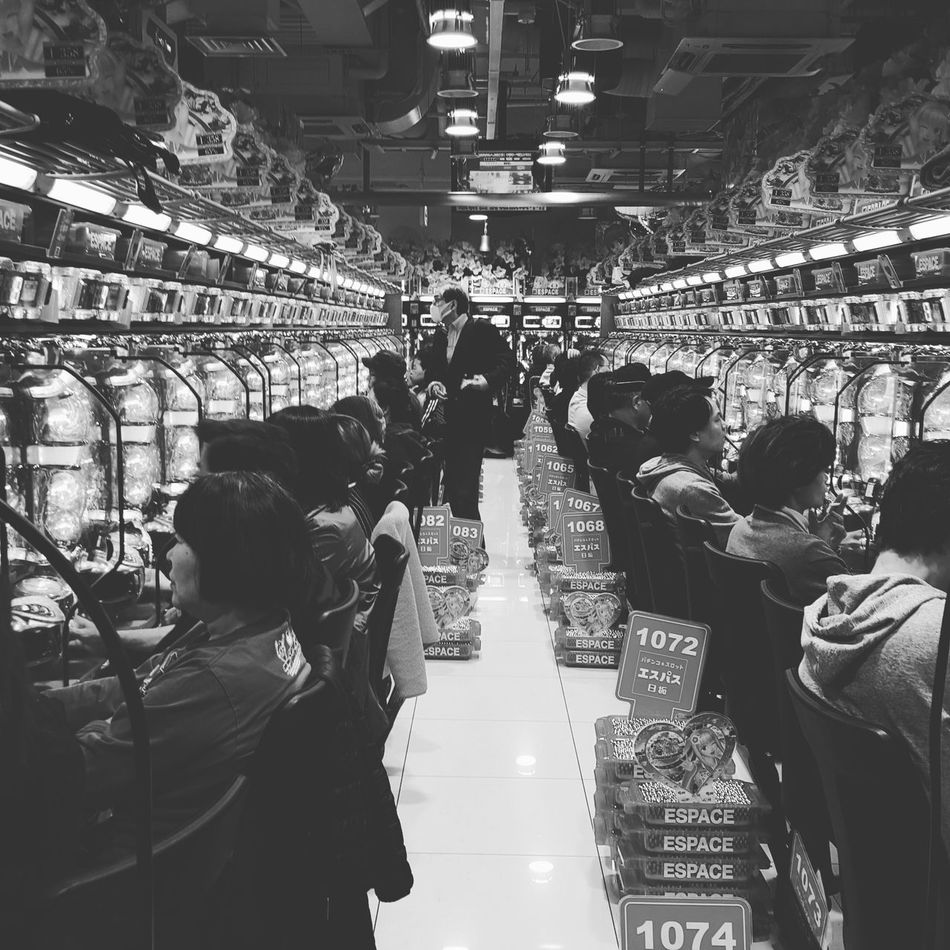 Black And White Gambling Pachinko Pachinko In Japan Playing Sin City Symetrical Vice Waiting