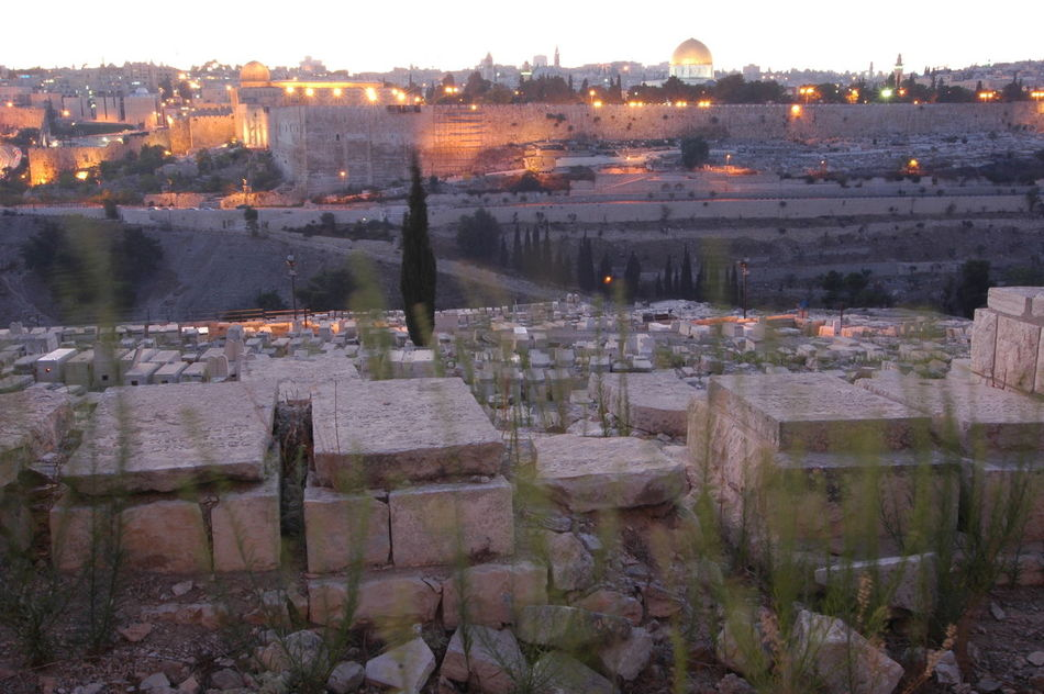 From the Mount of Olives to the Temple Mount in Jersulem Christianity Cityscape Cityscape Of Jerusalem Evening Hour Graves Gravestones Graveyard Holy City Holy Place Islam Jerusalem Jewish Jewry Mount Of Olives Outdoors Religion And Beliefs Religion And Faith Temple Mount