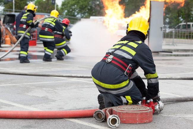 Fire department training Fire Engine Fireman Protective Blaze Emergency Firefighter Flame Service Spraying Burn Danger Emergency Services Fire Fire Truck Firefighters Heat Hose Training