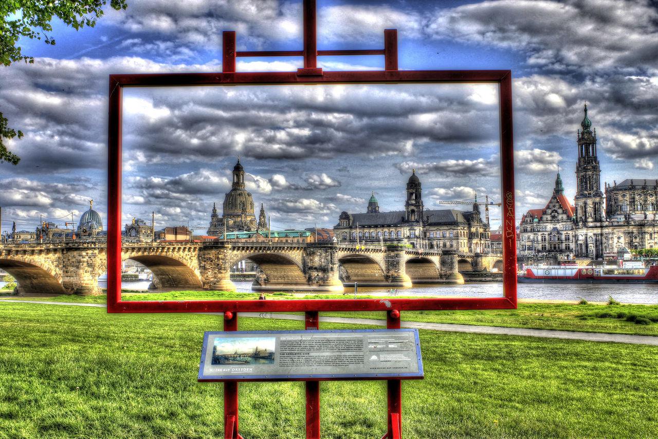 Dresden Canalletoblick Elbe Augustusbrücke Elbufer Koenigsufer HDR Hdrphotography