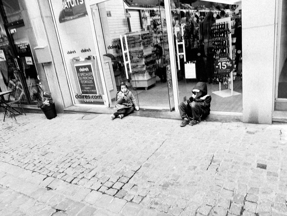 Friday After School Children Wainting Commercial Street Shop Outdoors City Street Old Town Black And White No Filter, No Edit, Just Photography EyeEm Cobblestone Eye4photography  Streetphoto_bw Real People
