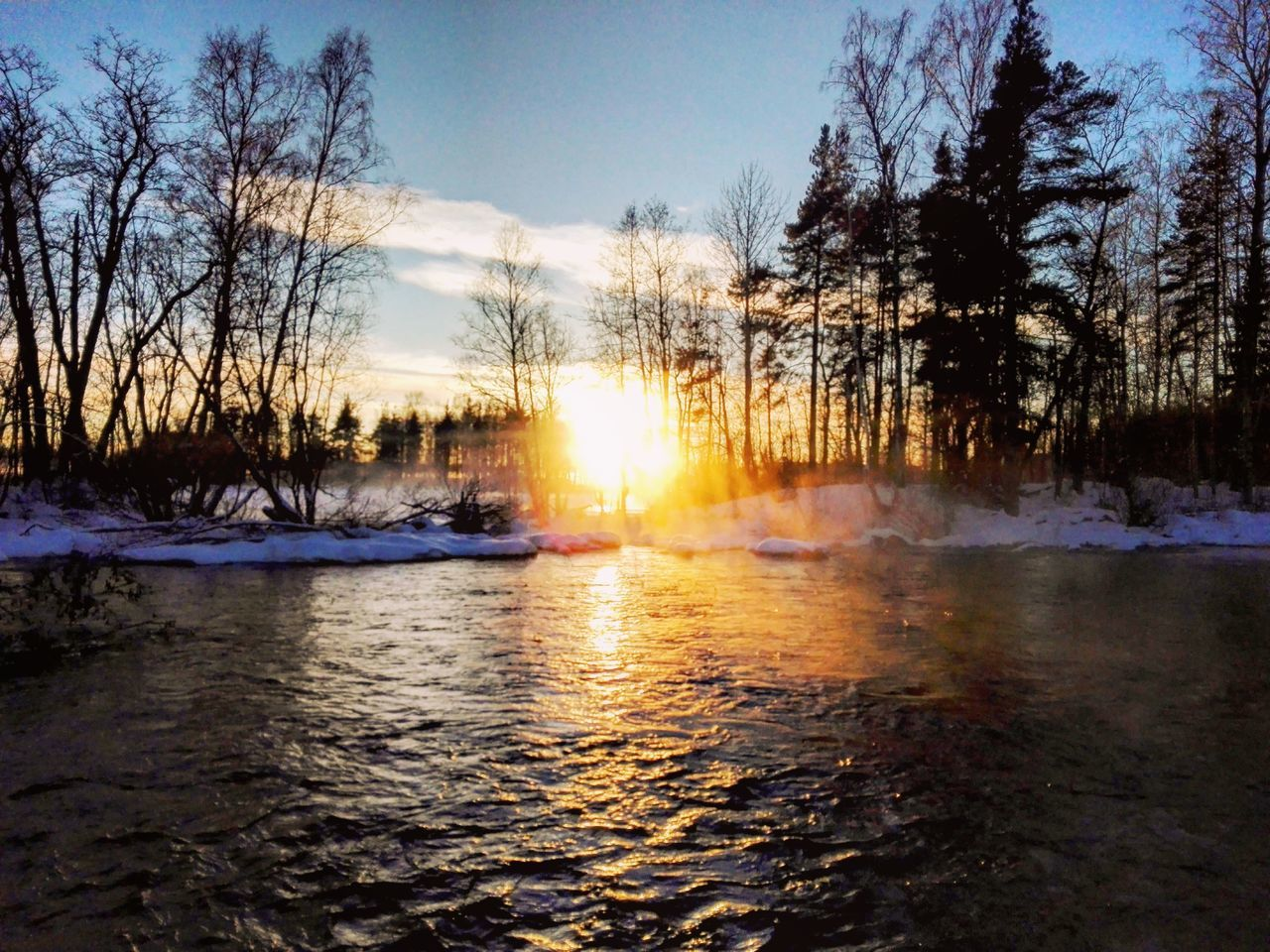 River and sun Sunset Nature Water Beauty In Nature Flowing Water Naturepath Naturelovers Finnish Nature Photography Photographer Nature Photography Snow ❄ Landscape_photography Winter Landscape Cold Temperature Colourful Naturebeauty Wintertime Outdoors