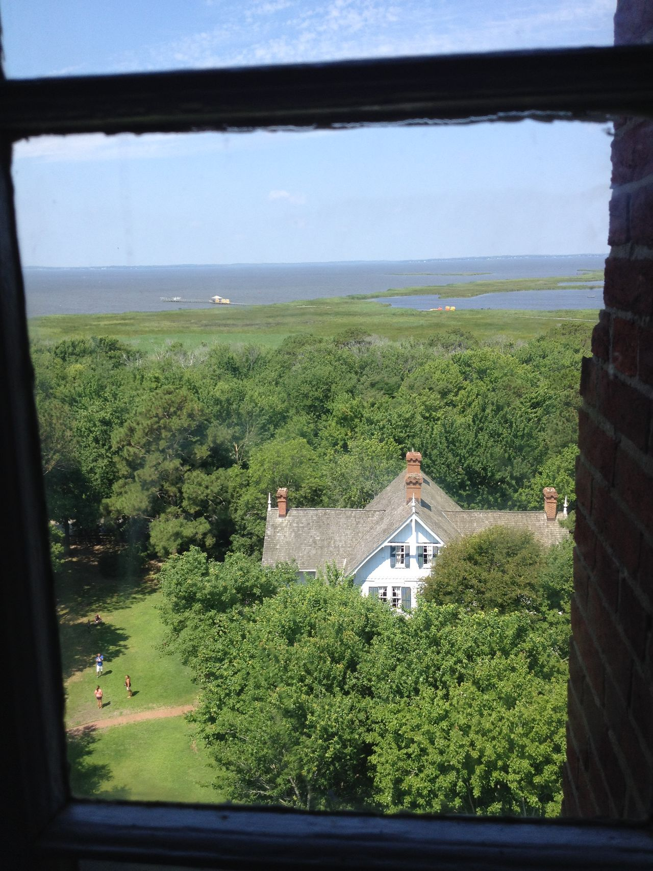 Caretaker House Currituck Beach Lighthouse Grass Sky Soundside Tree View From The Top Window View