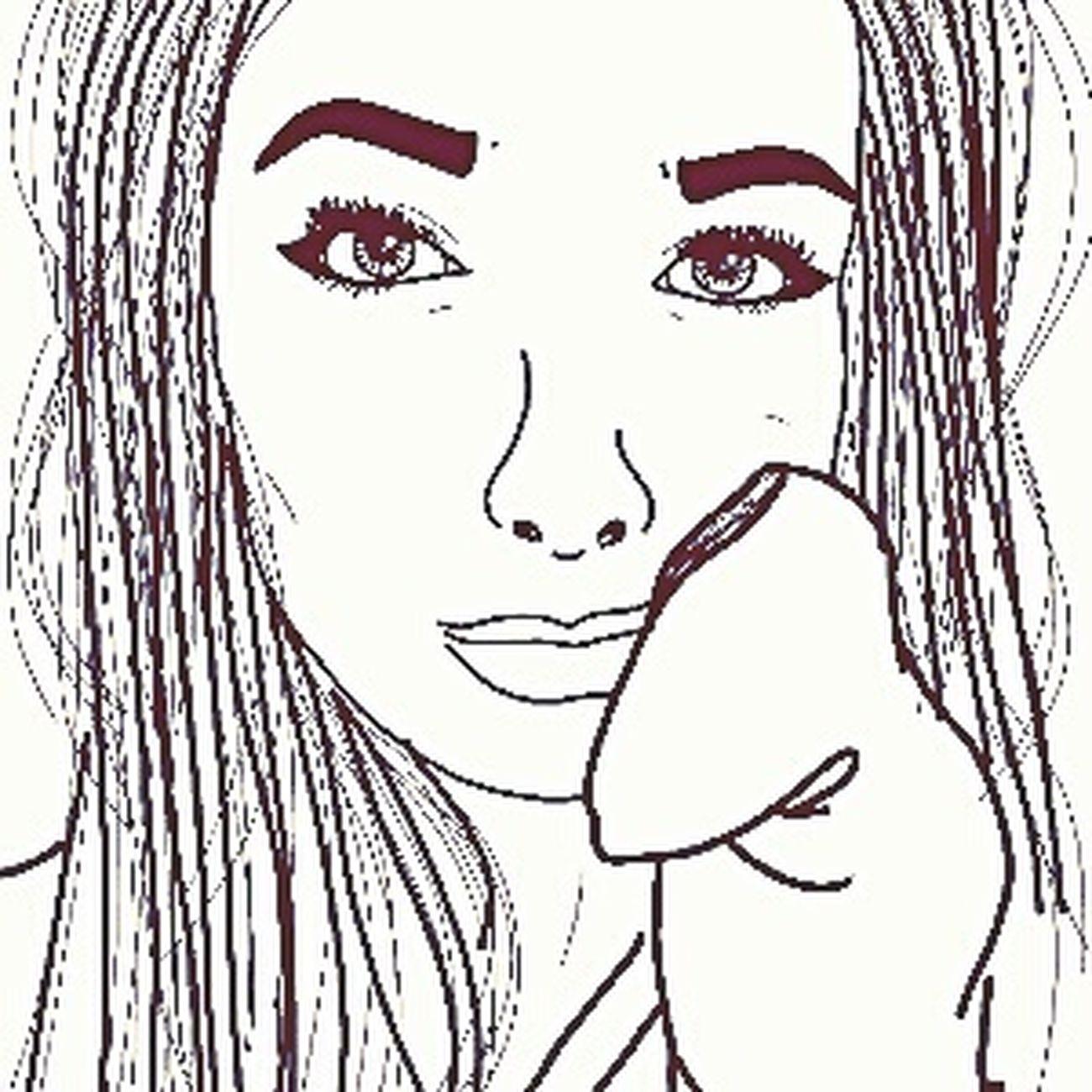 Tumblr Style Cartoon Draw Art People Tumblroutline Longhair Girl Selfıe