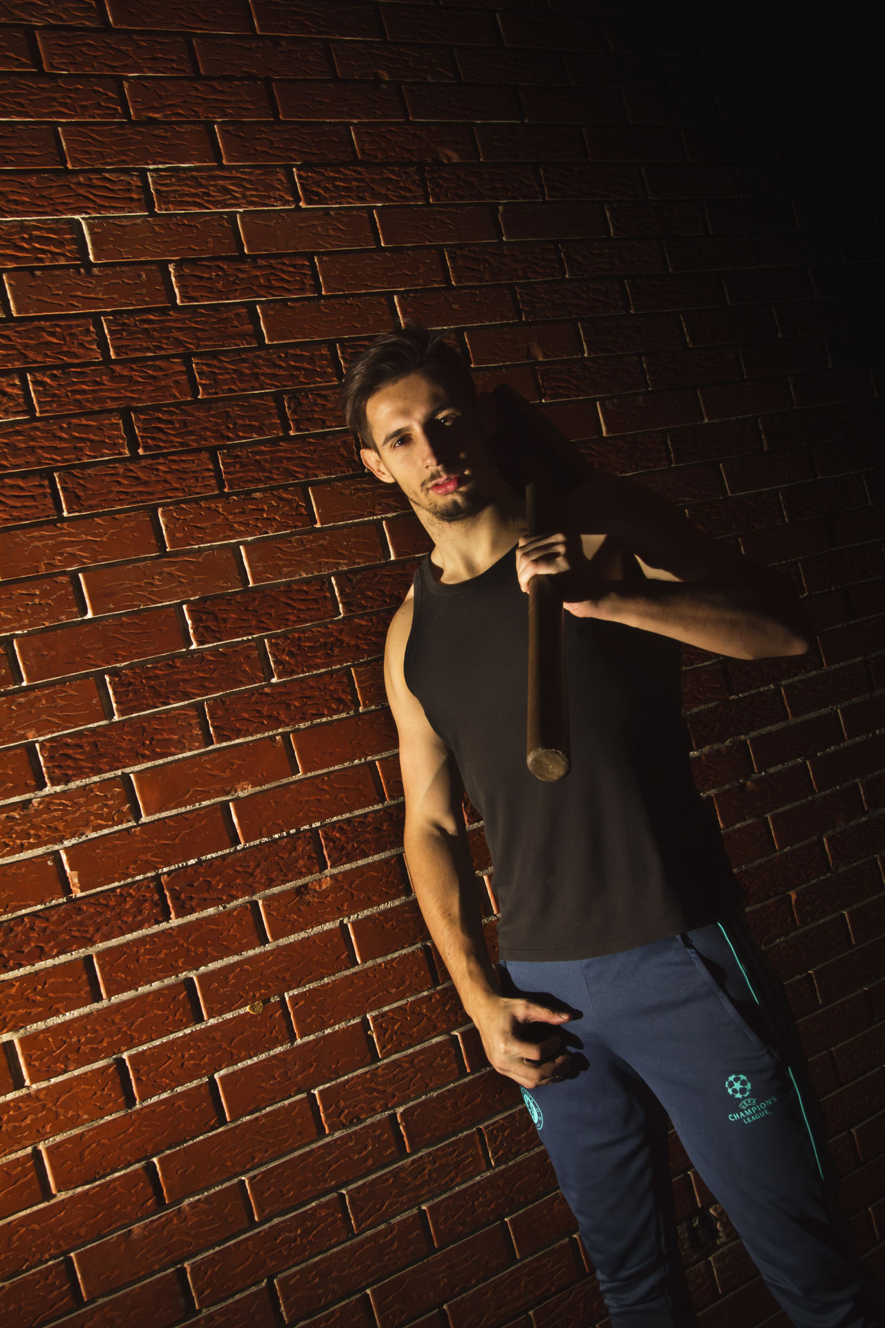 Brick Wall Bricks Brickwall Dumbell EyeEm Best Shots Fit Fitness Gym Indoors  Model Modeling One Person Orange Portrait Pose Posing Sitting Sport Standing Standing Training Week On Eyeem Weight Weights Young Adult